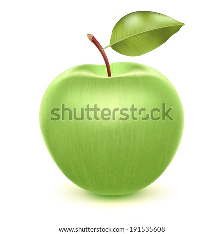 Realistic green apple. Raster version. - stock photo