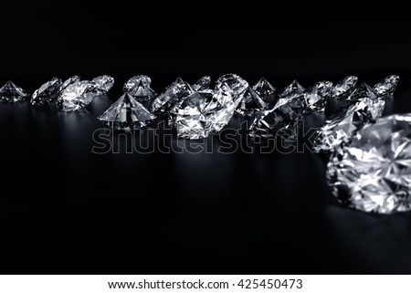 Realistic group of diamonds placed on Black background, 3D illustration.