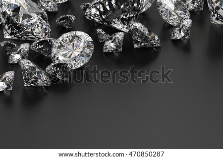 Realistic group of diamonds placed on grey background, 3D illustration.