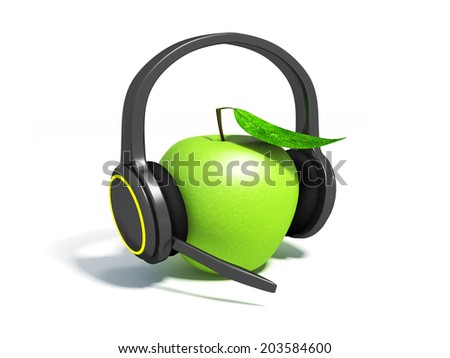 Realistic headphones and green apple. Illustration on white background for design