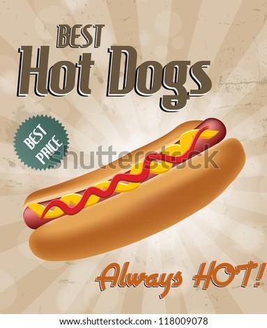Realistic hot dog. Raster version. - stock photo