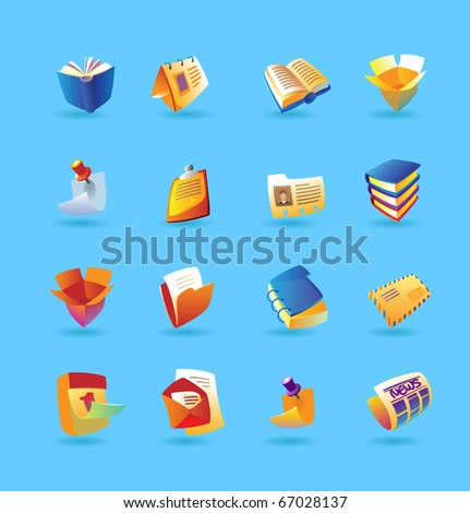 Realistic icon set for books, papers and stationery on light blue background. Raster version. For vector version of this image, see my portfolio. - stock photo