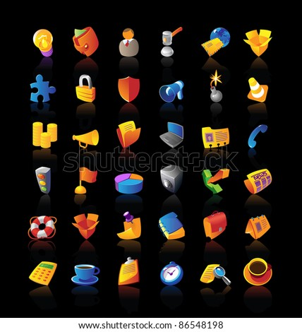 Realistic icons set for business, finance and security on black background. Raster version. Vector version is also available. - stock photo
