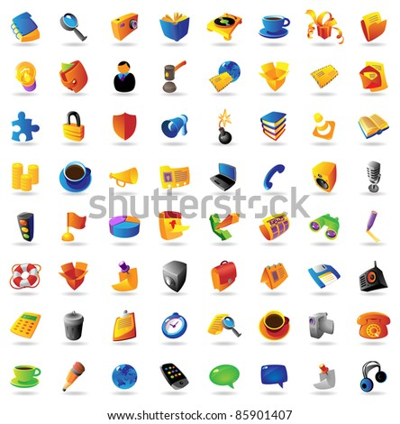 Realistic icons set on white background. Raster version. Vector version is also available. - stock photo