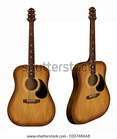 Realistic illustration of a classic guitar - front and side view Isolated on white - stock photo