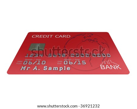Realistic illustration of a red credit card with fictional details, isolated on a white background. - stock photo