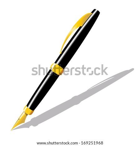 Realistic illustration of gold pen. Raster illustration - stock photo