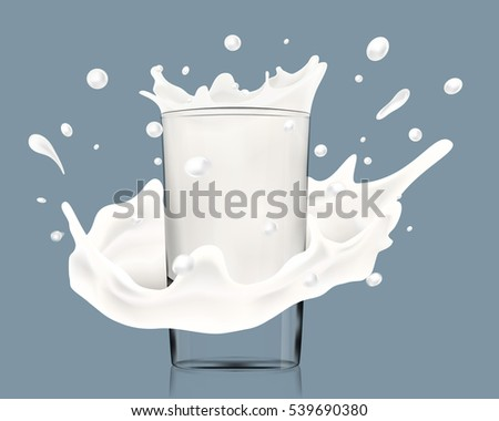 Realistic illustration of milk splash around glass bitmap copy