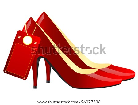 Realistic illustration of pair of modern red female shoes isolated over white