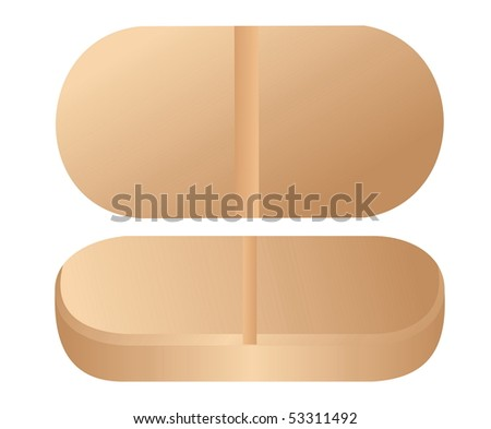 Realistic illustration of pill is isolated on white background. Raster - stock photo