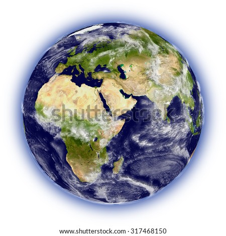 Realistic illustration of planet Earth isolated on white background, facing Africa, Europe and middle east region