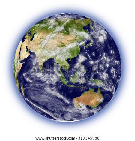 Realistic illustration of planet Earth on white background facing Australia, Indonesia and southeast Asia region - stock photo