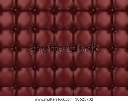 Realistic illustration of shiny red buttoned leather. - stock photo