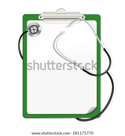 realistic illustration of stethoscope on green clipboard with white blank paper - stock photo