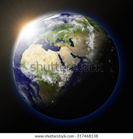 Realistic illustration of sunset over planet Earth as seen from space facing Africa, Europe and middle east region - stock photo