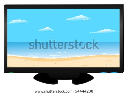 Realistic illustration widescreen plasma TV on white background isolated. Raster. - stock photo