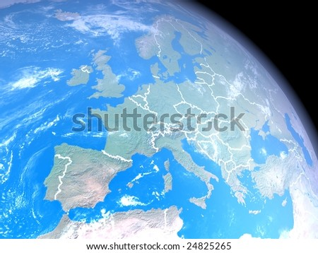 realistic image of the earth from space with clouds, atmosphere, natural colors for the continents. Center of the view is Europe, country outlines in white. Image is a rendered 3d scene.