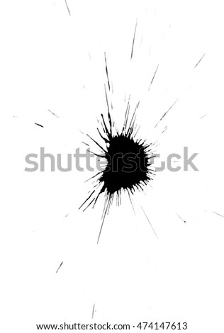 Realistic ink spot design isolated on white background.