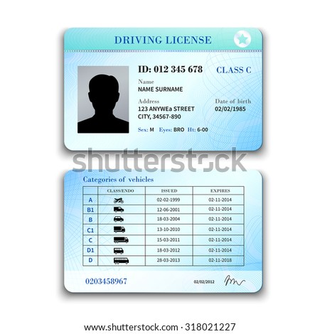 Realistic international plastic driver licence back and front template isolated  illustration