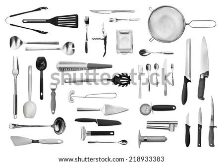 Realistic Kitchen Equipment Cutlery Collection Isolated Stock Photo ...