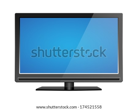 Realistic LCD tv illustration, with blank blue screen, raster copy