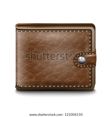 Realistic leather wallet on  white background