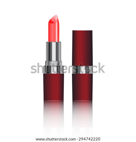 realistic lipstick on a white background