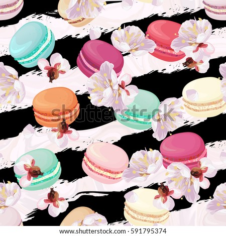 Realistic macaroons colorful seamless pattern. Trendy confectionery texture with classic french almond cookies on art stroke stripes, marble background. Spring blossom plum tree flowers.