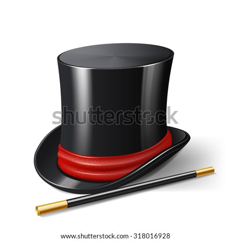 Realistic magician hat with magic stick entertainment show accessories isolated on white background  illustration