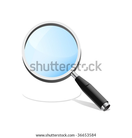 Realistic magnifying glass, no mesh. Icon.