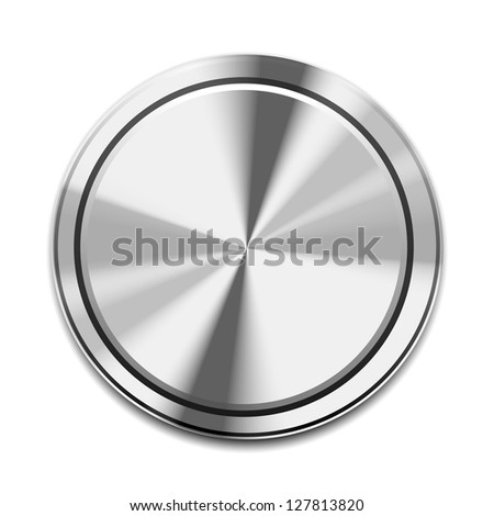 Realistic Metal Button Icon isolated on white - stock photo