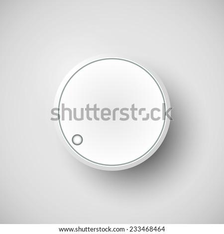 Realistic metal control panel tumbler. Music audio sound volume knob button minimum maximum level. Rotate switch interface stereo tuner isolated on white background. Design element illustration - stock photo