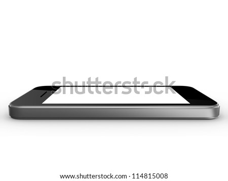 Realistic mobile phone device with blank touch screen with black frame, isolated on white background. - stock photo