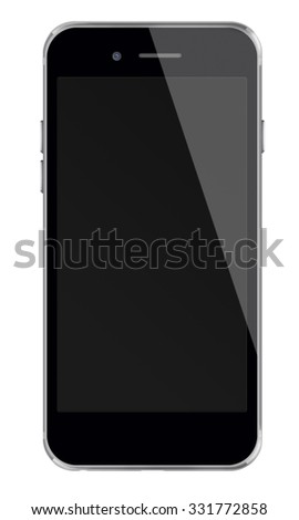 Realistic mobile phone iphon style mockup with black screen isolated on white background. Highly detailed illustration.