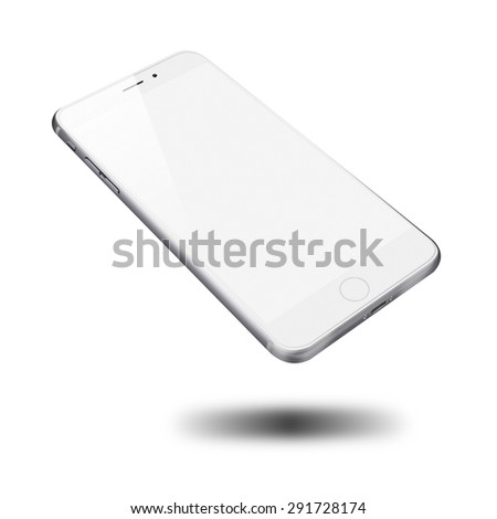 Realistic mobile phone iphon style mockup with blank screen and shadows isolated on white background. Highly detailed illustration. - stock photo