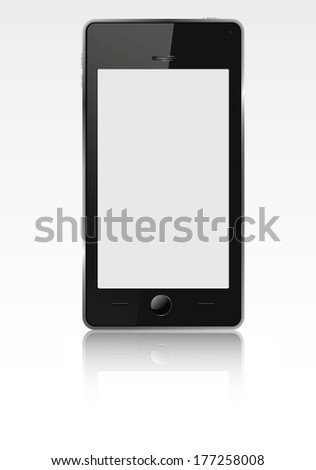 Realistic mobile phone (smartphone) with blank screen. Raster illustration. Vector version is also included in the portfolio. - stock photo