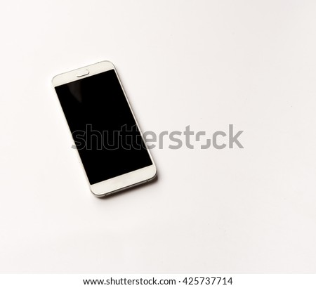 Realistic mobile phone touch screen smart phone in iphone style with black screen with  isolate on white background. - stock photo