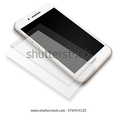 Realistic mobile phone touch screen smartphone with blank and black screens and shadows  in iphon style isoiated on white background.