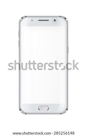 Realistic mobile phone with blank screen isolated on white background. Highly detailed illustration. - stock photo