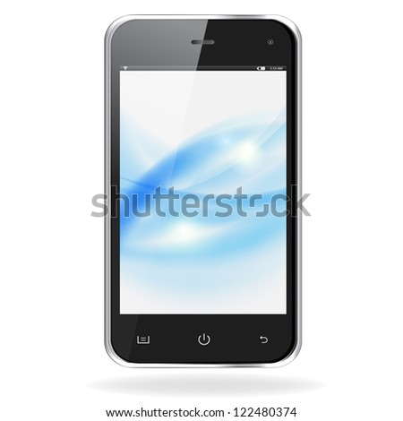 Realistic mobile phone with blue waves on screen isolated on white background. Raster copy of vector illustration - stock photo