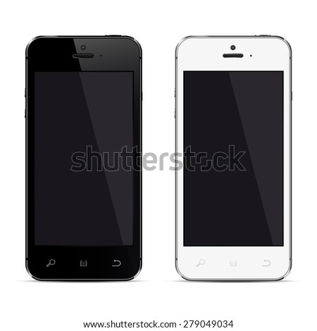 Realistic mobile phones with blank screen isolated on white background. - stock photo