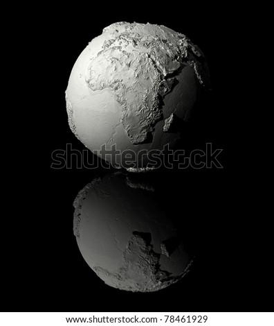 Realistic model of planet earth on black background, africa, 3d render