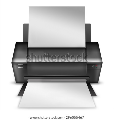 Realistic modern printer isolated on white background. Highly detailed illustration.