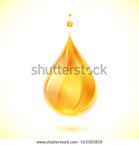 Realistic oil or honey isolated yellow drop - stock photo