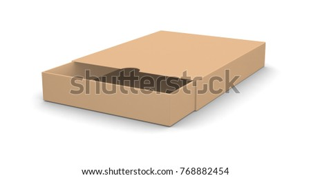 Realistic open blank cardboard box for design and logo isolated on white background. 3d illustration