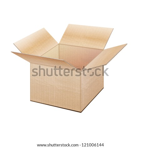 Realistic open cardboard box on  white background