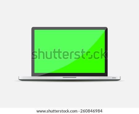 Realistic Open Laptop with green blank screen isolated on white background. illustration  - stock photo