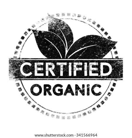 Realistic organic certified label, black silhouette over white for layer mask use. - stock photo