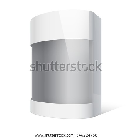 Realistic Package Cardboard Box with a transparent plastic window. On separate layers box with cutout, transparent window, and shadow.