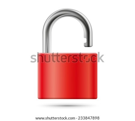 Realistic padlock illustration. Closed red lock security icon isolated on white - stock photo